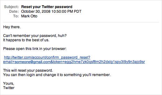 Twitter password reset email
