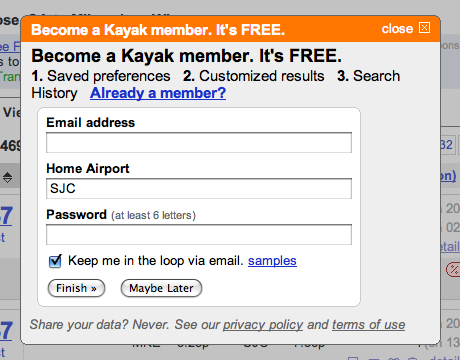 Kayak.com Registration Popup