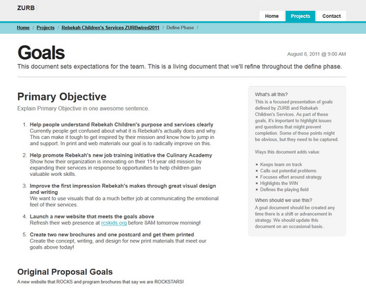 Goals page