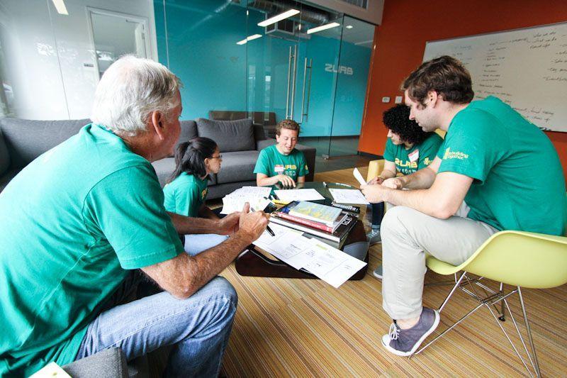 photo of Caleb and team iterating through ideas