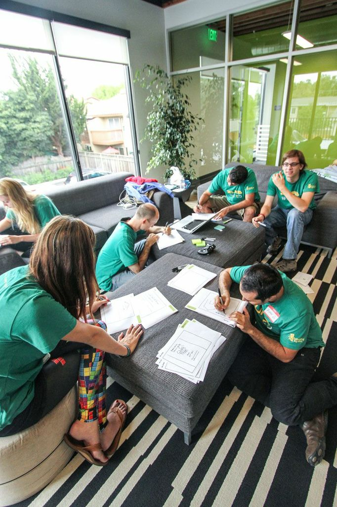 photo of the team sketches ideas with sharpies and paper