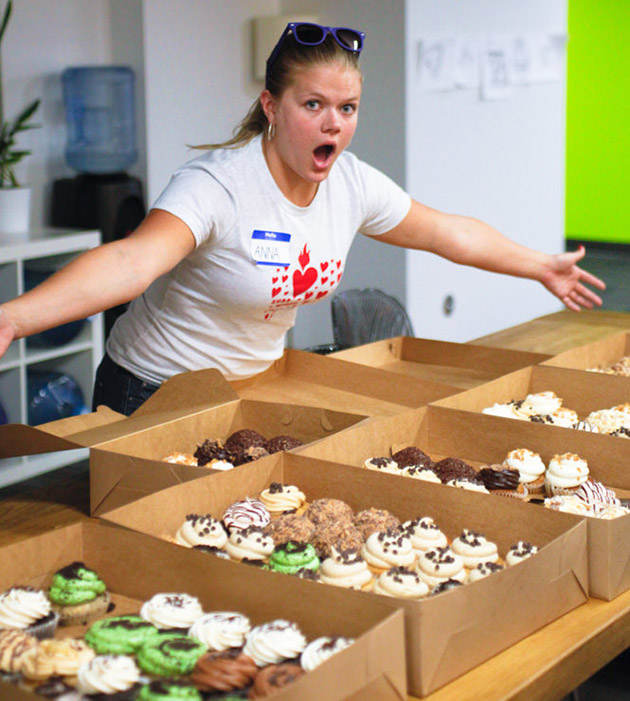 Photo of Anna with cupcakes