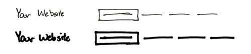 illustration of varying weight pen lines